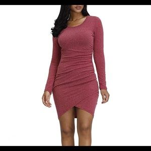 0832 Sexy Casual Long Sleeve Ruched T Shirt Dress